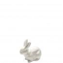 Ceramic bunny het buigen, wit L8B4H6,5cm